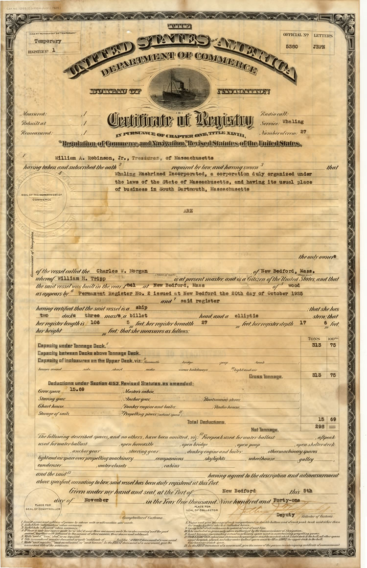 Certificate Of Registry 1941 Nov 5 Collections Amp Research